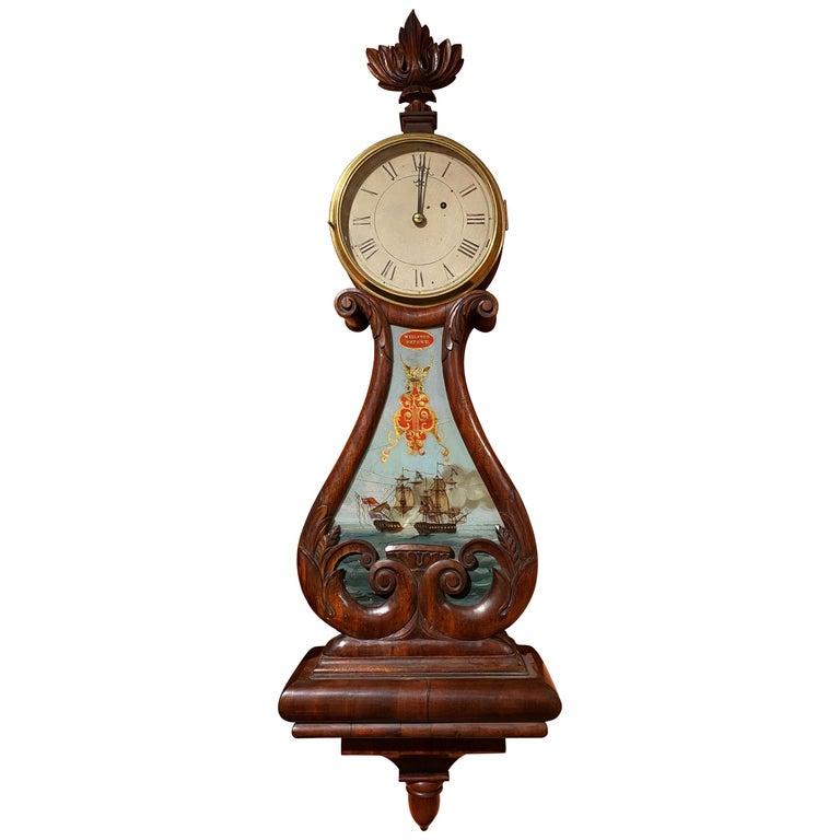 Aaron Willard Lyre Clock in Mahogany Case w/ Battling Tall Ships Eglomise Panel