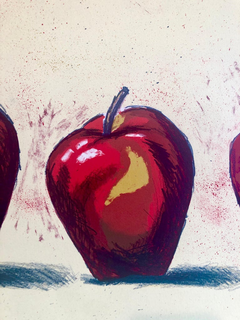 Original Boston Modernist Lithograph Aaron Fink Apples Pop Art Print Americana  - Contemporary Painting by Aaron Fink