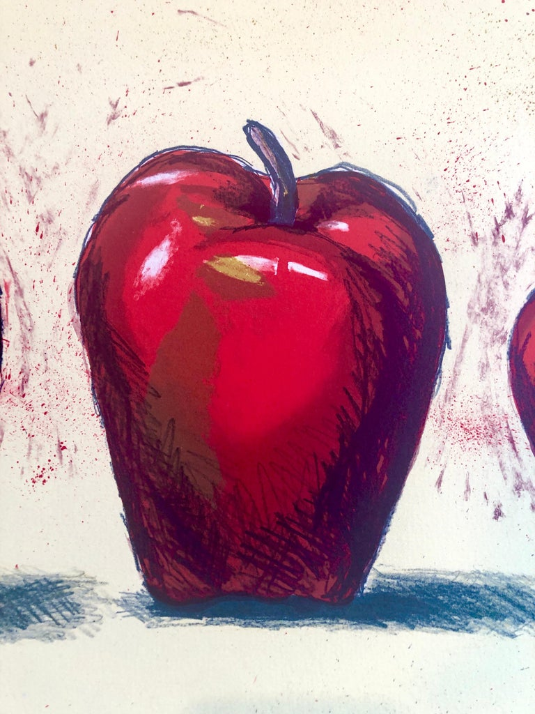 Original Boston Modernist Lithograph Aaron Fink Apples Pop Art Print Americana  - Beige Figurative Painting by Aaron Fink