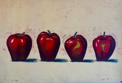 Original Boston Modernist Lithograph Aaron Fink Apples Pop Art Print Americana