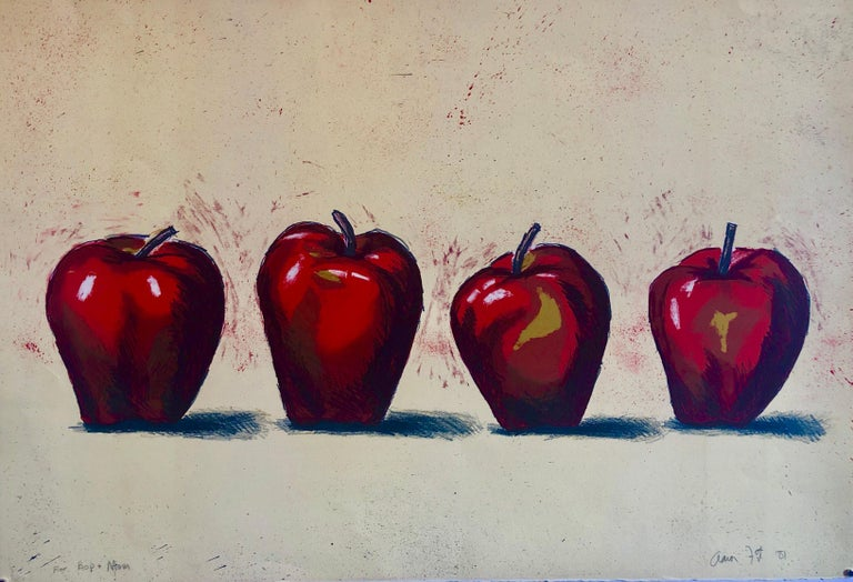 Original Boston Modernist Lithograph Aaron Fink Apples Pop Art Print Americana  - Painting by Aaron Fink