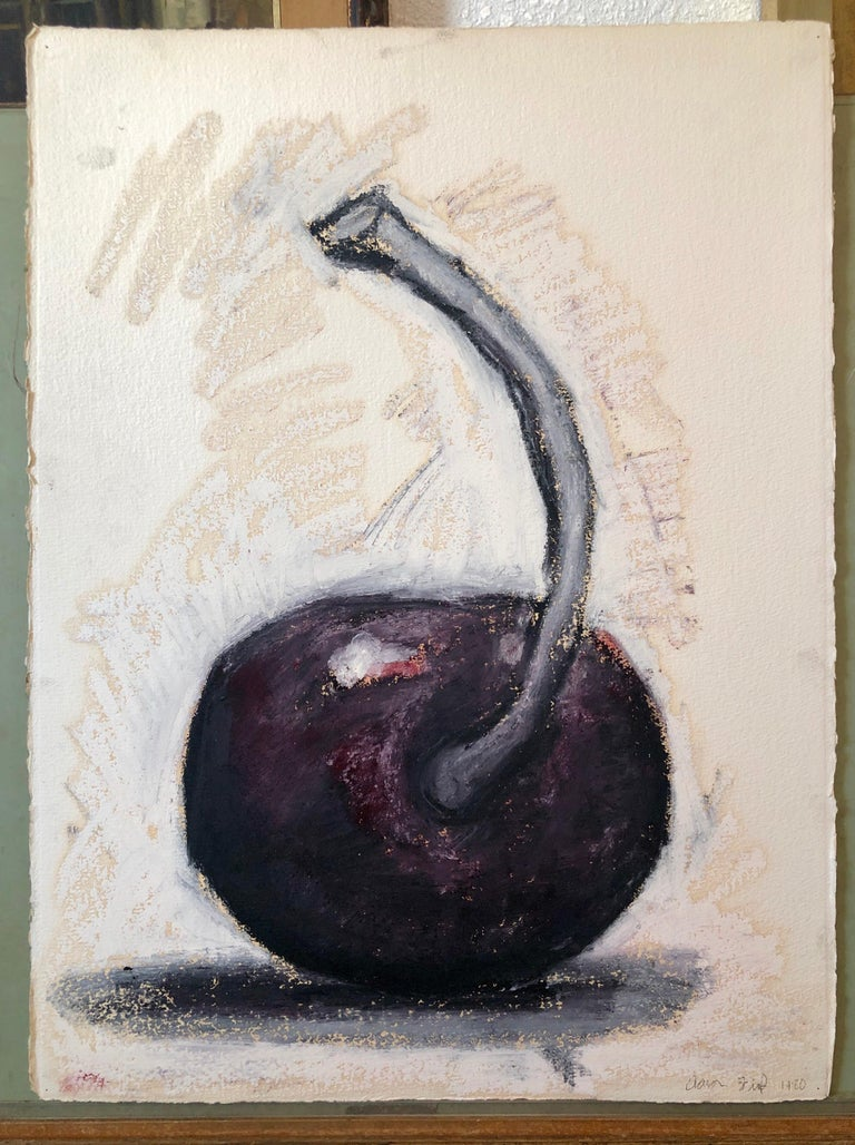 Original Modernist Oil Stick Pigment Painting by Aaron Fink, Cherry. Pop Art For Sale 2
