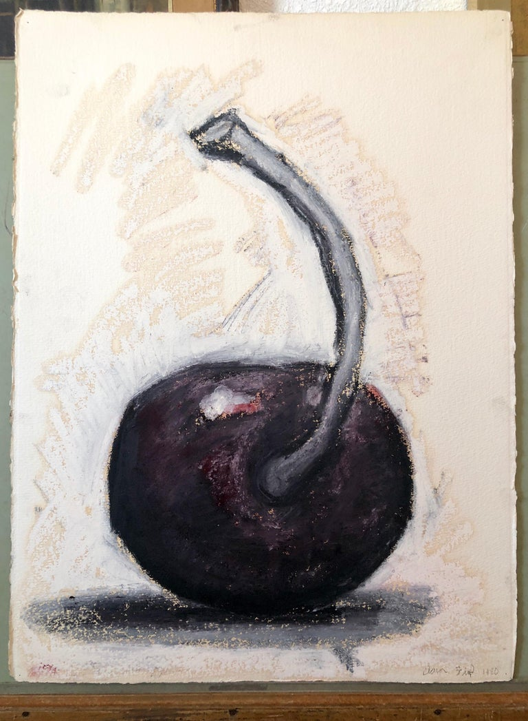 Original Modernist Oil Stick Pigment Painting by Aaron Fink, Cherry. Pop Art For Sale 7