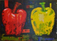 """Large Silk Screen Print by Boston Expressionist Aaron Fink, """"Two Apples"""""""