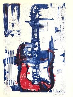 Modernist Lithograph Red, White, Denim Blue Guitar Aaron Fink Pop Art Americana