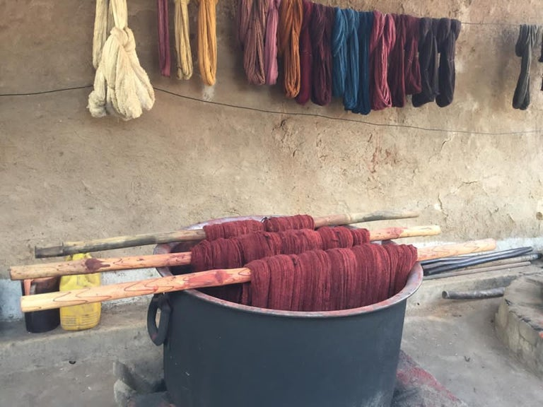 Aasana Handloom Organic Cotton Throw in Indigo, Black & Red Stripes Earthy Tones For Sale 3