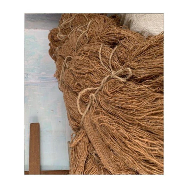 Aasana Handloom Organic Cotton Throw in Indigo, Black & Red Stripes Earthy Tones For Sale 4