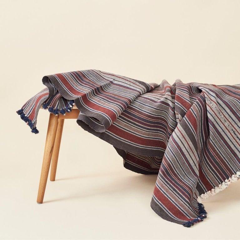 Modern Aasana Handloom Organic Cotton Throw in Indigo, Black & Red Stripes Earthy Tones For Sale
