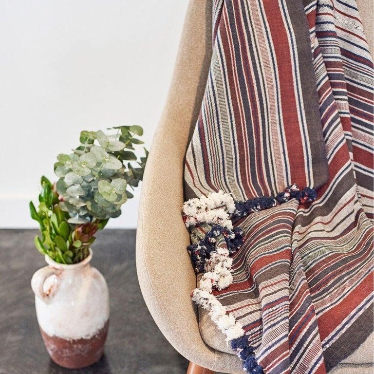 Indian Aasana Handloom Organic Cotton Throw in Indigo, Black & Red Stripes Earthy Tones For Sale