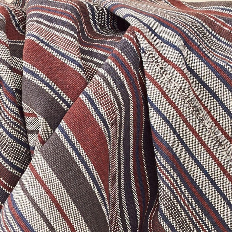 Hand-Woven Aasana Handloom Organic Cotton Throw in Indigo, Black & Red Stripes Earthy Tones For Sale