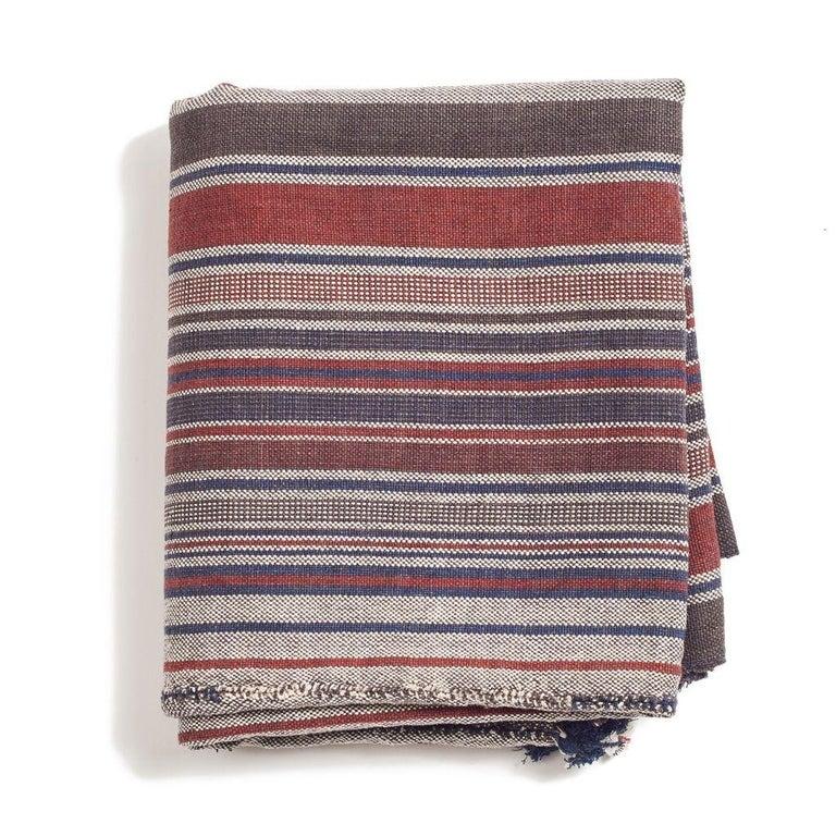 Contemporary Aasana Handloom Organic Cotton Throw in Indigo, Black & Red Stripes Earthy Tones For Sale