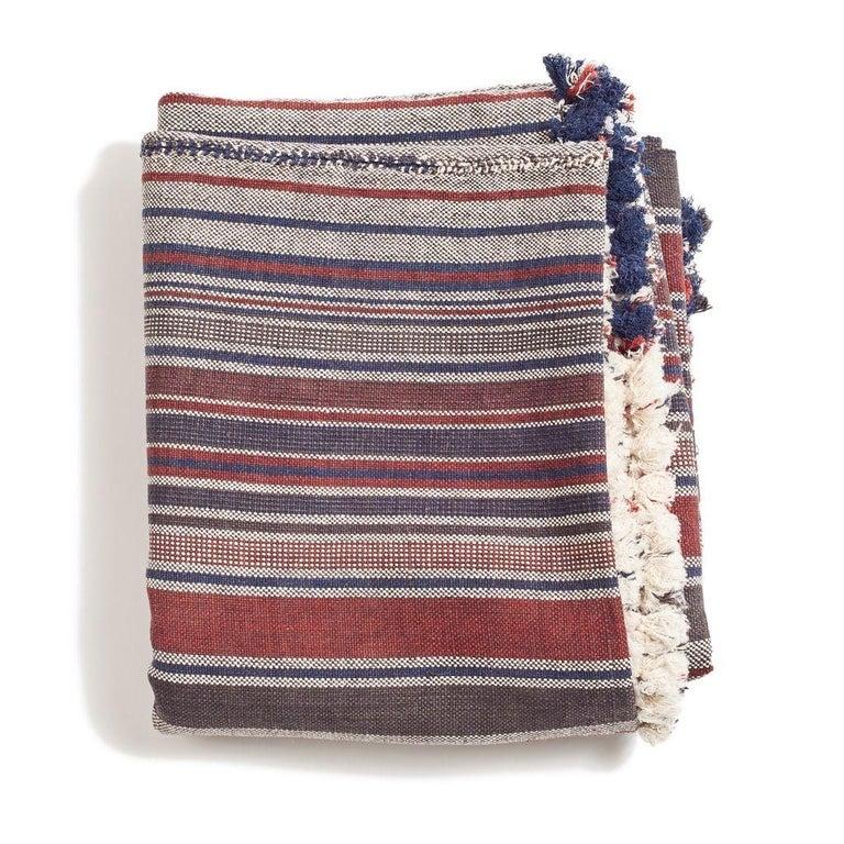 Yarn Aasana Handloom Organic Cotton Throw in Indigo, Black & Red Stripes Earthy Tones For Sale