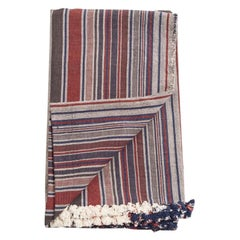 Aasana Handloom Organic Cotton Throw in Indigo, Black & Red Stripes Earthy Tones