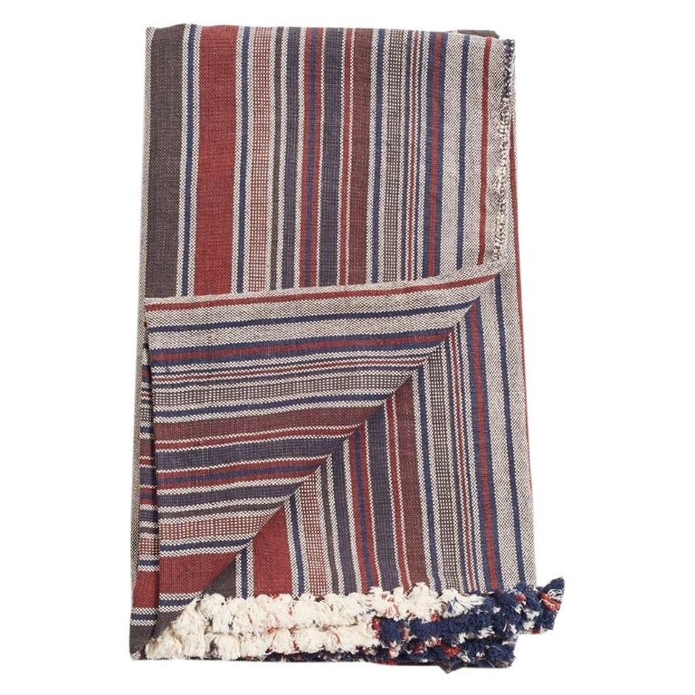 Aasana Handloom Organic Cotton Throw in Indigo, Black & Red Stripes Earthy Tones For Sale