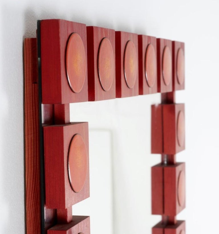 Modern AB Glas and Trä, Red 'Pop art' Wall Mirror with Chest, Swedish, circa 1963 For Sale