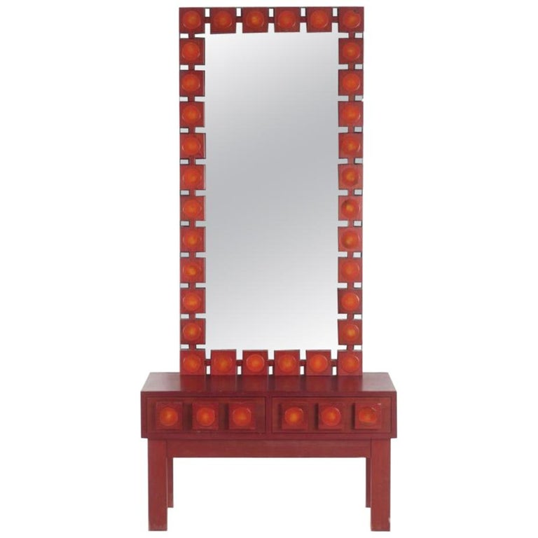 AB Glas and Trä, Red 'Pop art' Wall Mirror with Chest, Swedish, circa 1963 For Sale