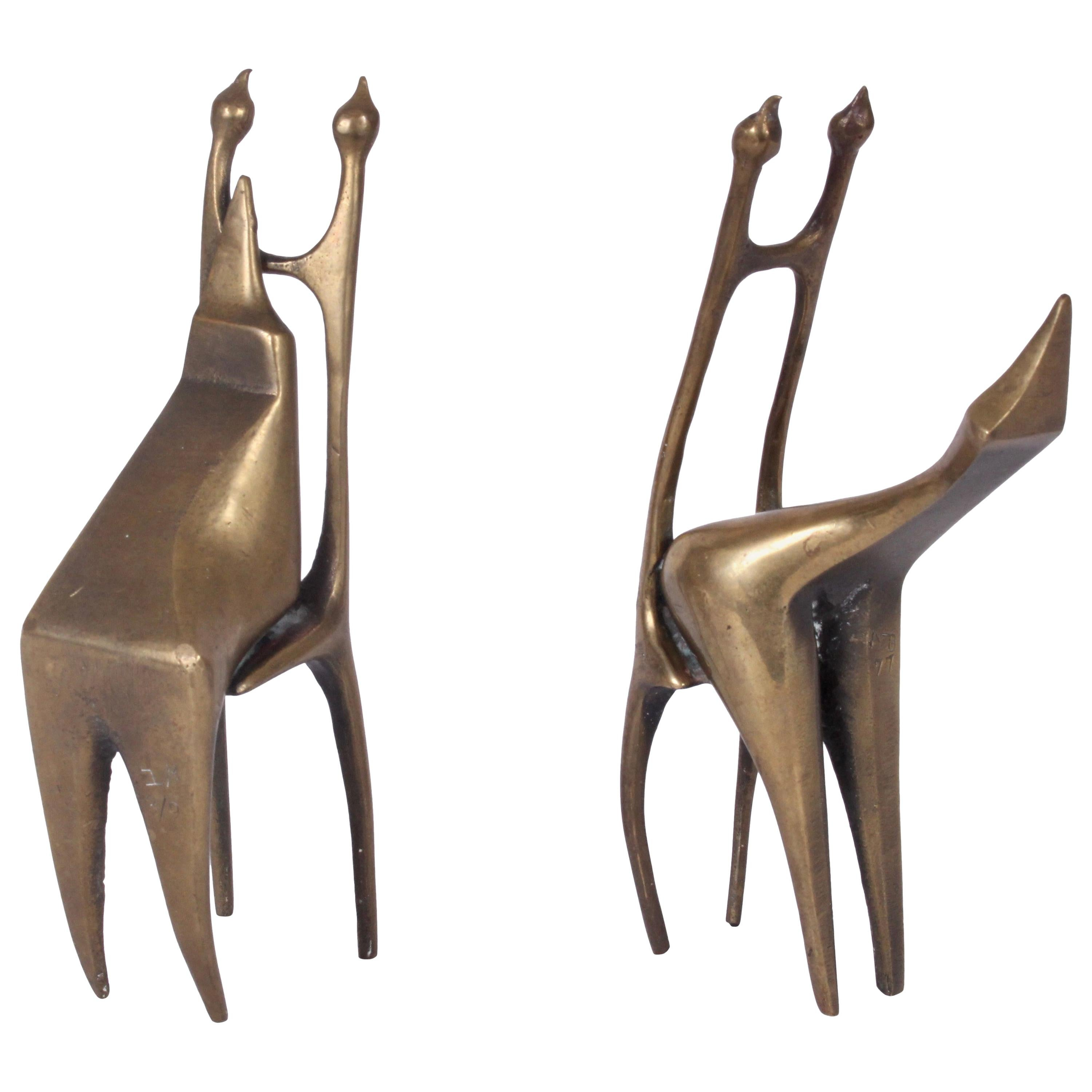 AB Pair of Abstract Figurative Bronze Sculptures, 1977