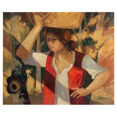 """Abadie Jean """"The basket carrier"""" Oil on Canvas"""
