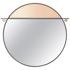 Abal Small Round Mirror with Neutral Pink Glass by Matter Made