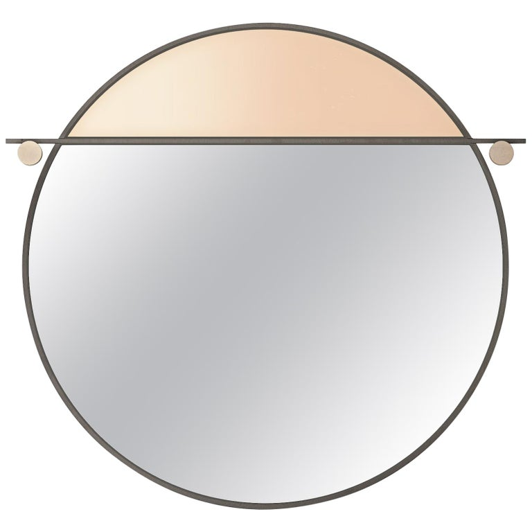 Abal Small Round Mirror with Neutral Pink Glass by Matter Made For Sale