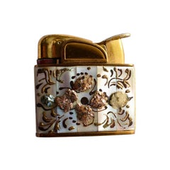 Abalone Brass & Pearl Encrusted Coffee Table Lighter with Painted Floral Details