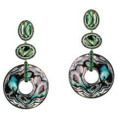 Abalone Double Oval Earrings with Tsavorite