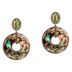 Goshwara Oval Abalone With Brown Diamonds Earrings