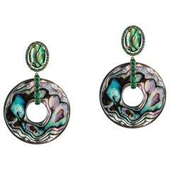 Abalone Oval Earrings with Tsavourite