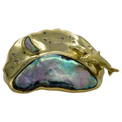 Abalone Pearl, Diamond, Opal and 18 Karat Gold Dolphin Slider Pendant circa 1995