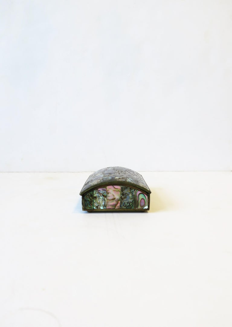 Metal Abalone Sea Shell Jewelry Box For Sale