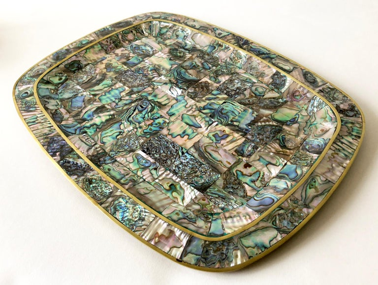 Mid-Century Modern Mexican Modernist Abalone Shell Brass Inlay Mexican Modernist Tray For Sale