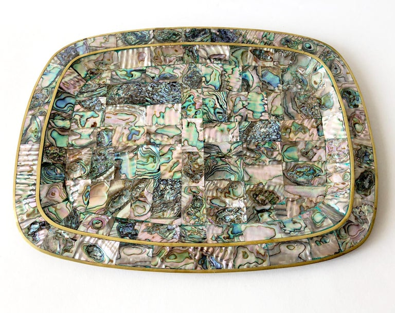 Mexican Modernist Abalone Shell Brass Inlay Mexican Modernist Tray In Good Condition For Sale In Pasadena, CA