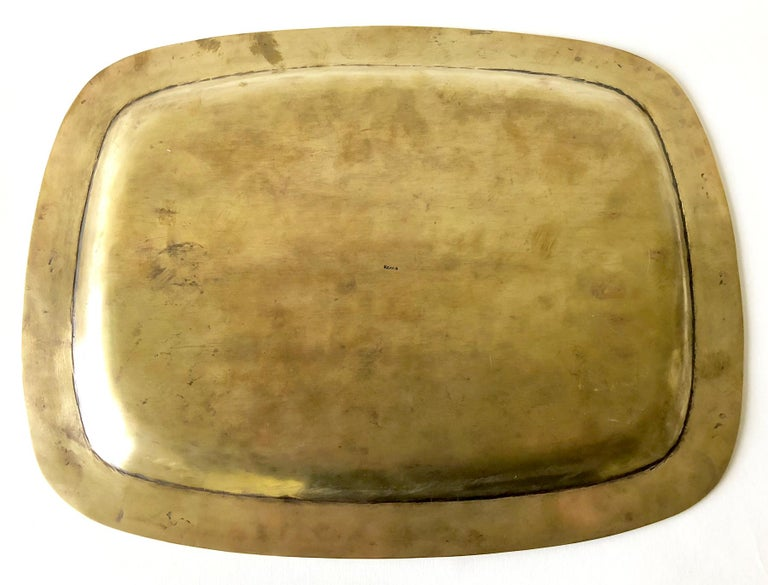 Mid-20th Century Mexican Modernist Abalone Shell Brass Inlay Mexican Modernist Tray For Sale