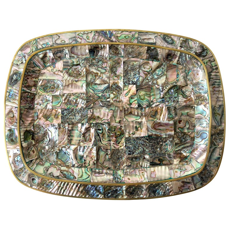 Mexican Modernist Abalone Shell Brass Inlay Mexican Modernist Tray For Sale