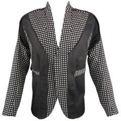 ABASI ROSBOROUGH 36 Black & White Dots Wool Deconstructed Jacket