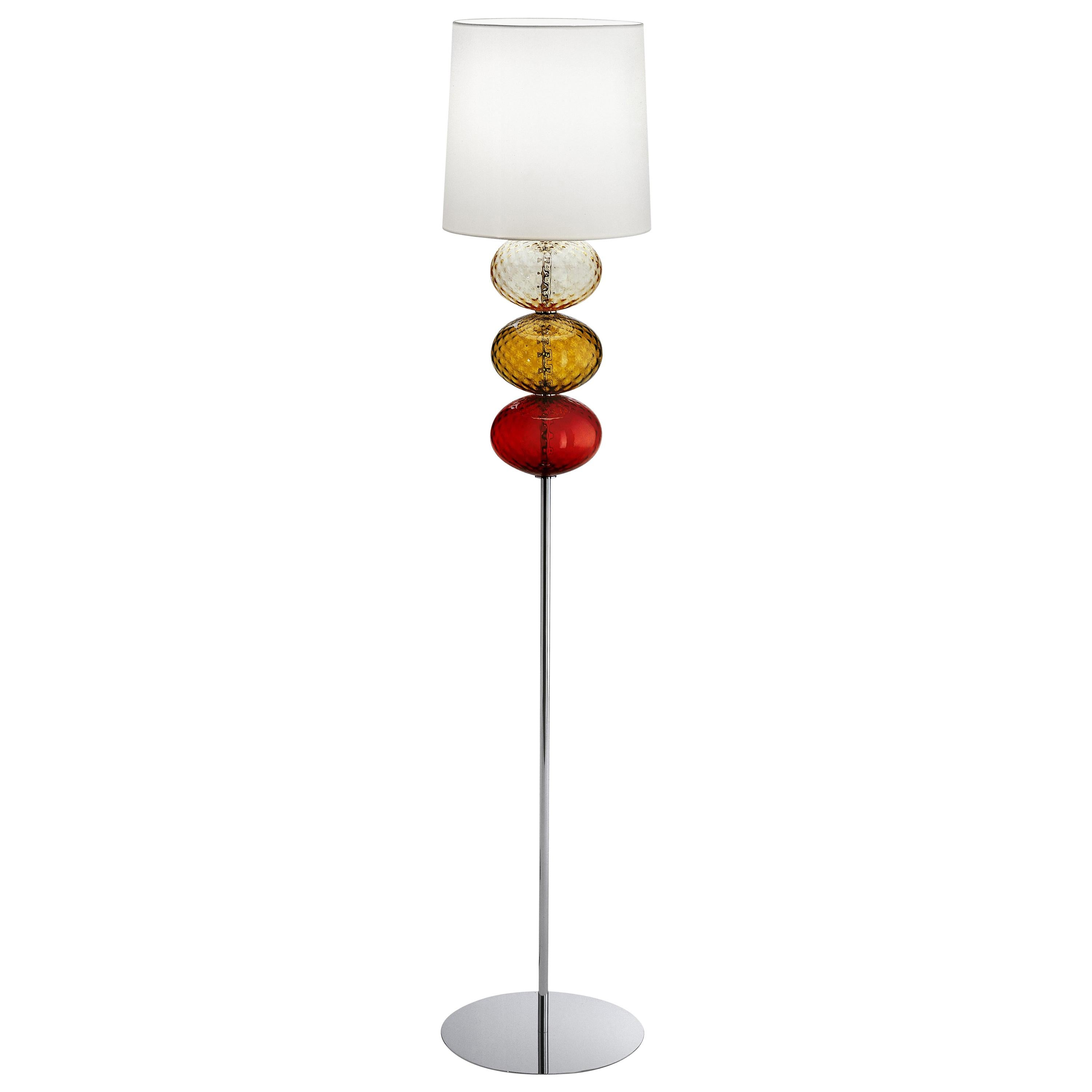 Abat Jour Floor Lamp in Red, Tea and Amber by Venini