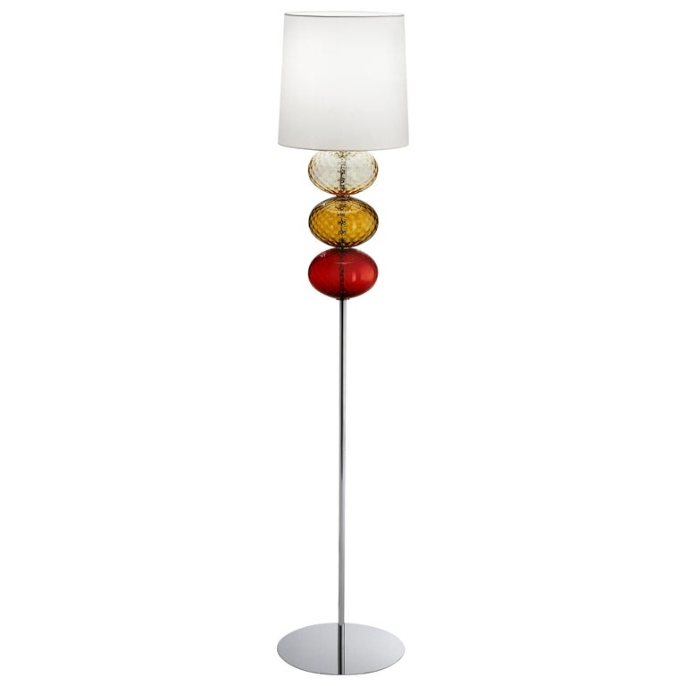 Abat Jour Floor Lamp in Red, Tea and Amber by Venini For Sale