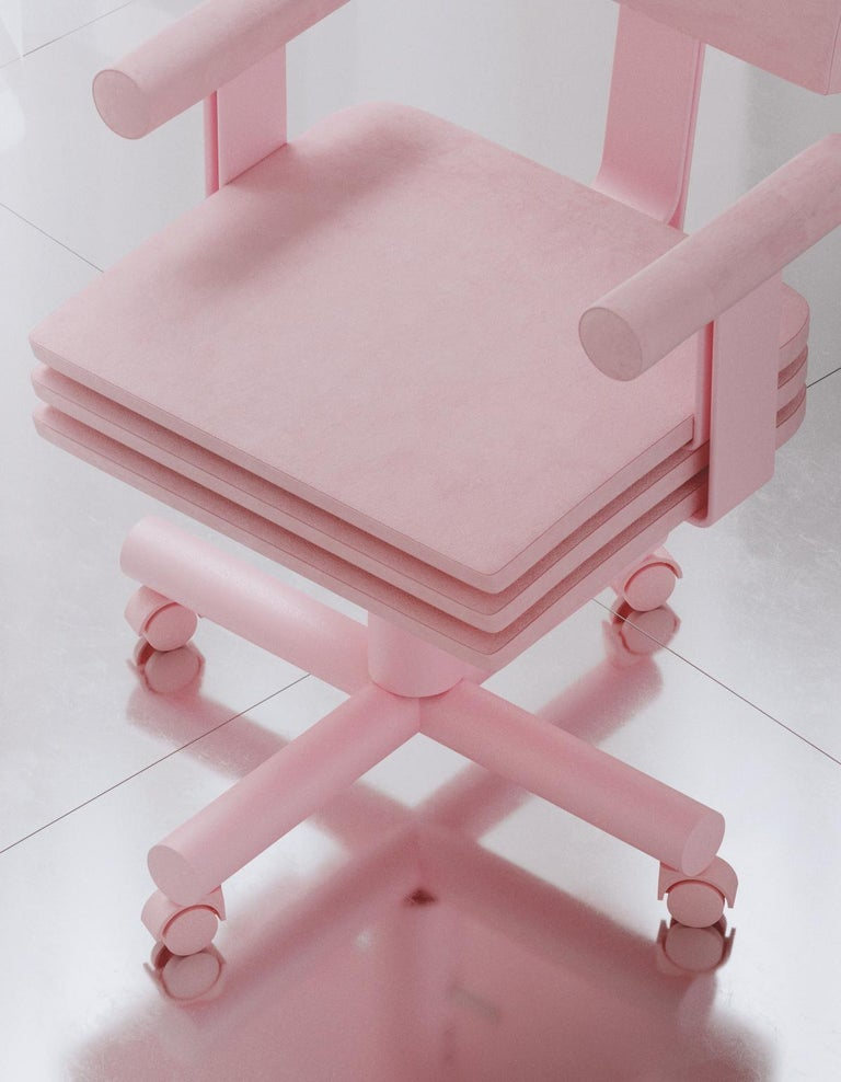 Spanish Abba Studio Office Pink Dreamy Chair by Reisinger Andres For Sale