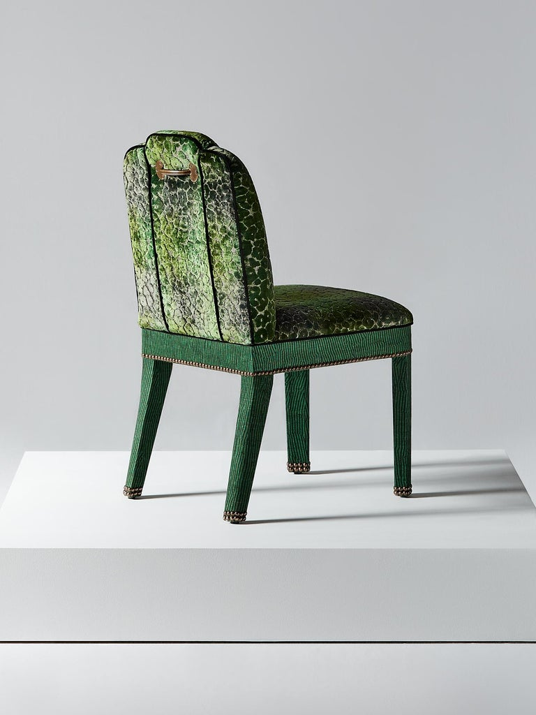 British And Objects Abbas Dining Chair, Fully Upholstered in Emerald Green Velvet For Sale
