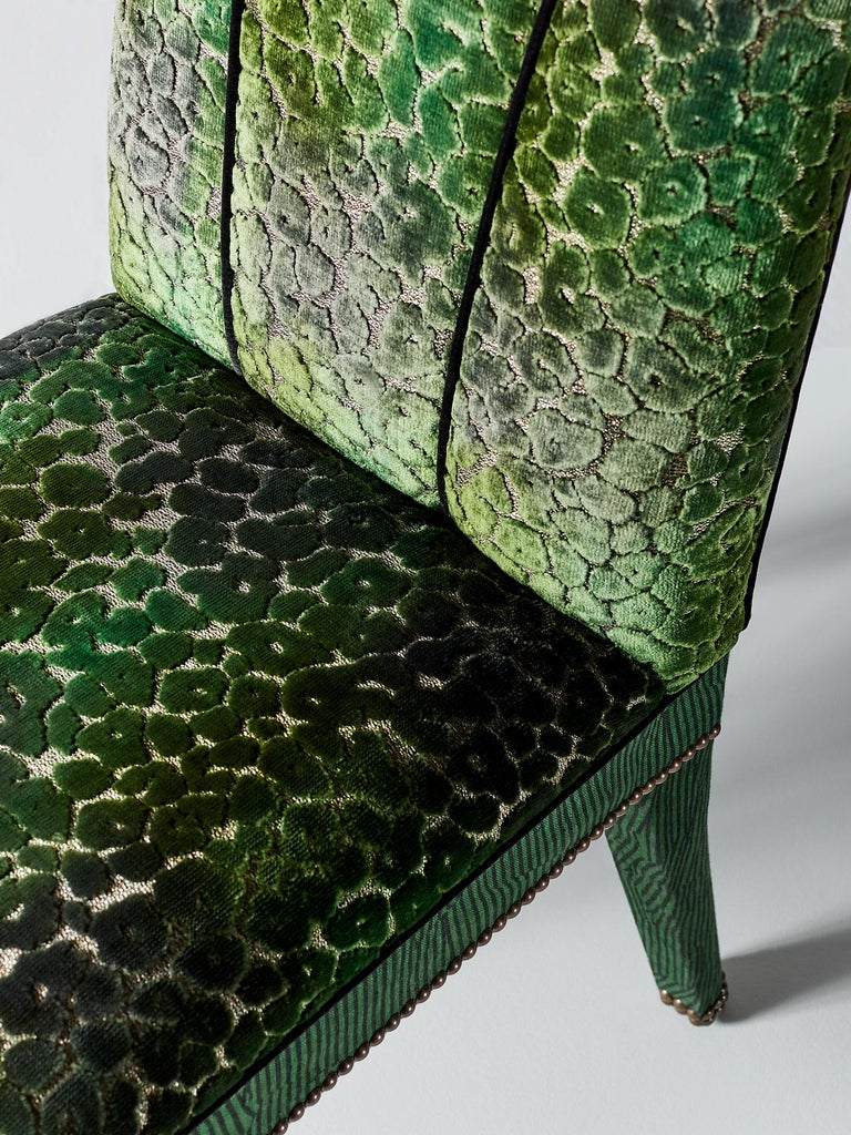 Hand-Crafted And Objects Abbas Dining Chair, Fully Upholstered in Emerald Green Velvet For Sale