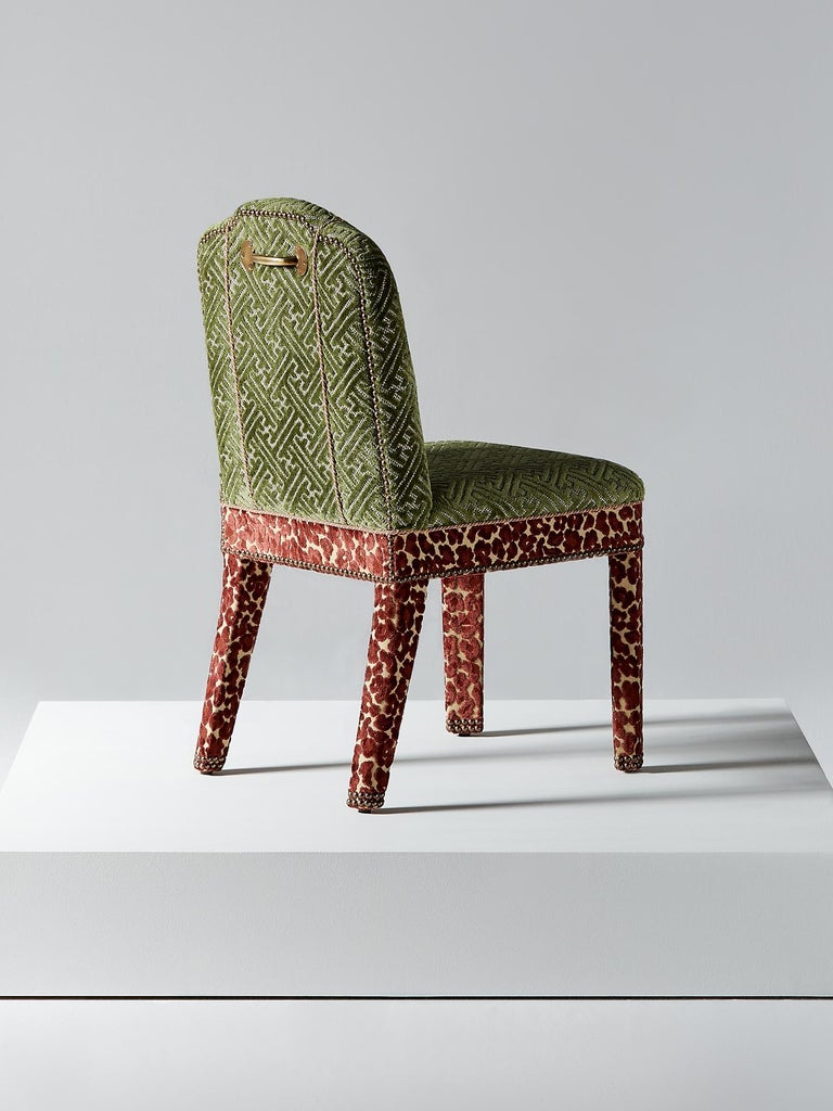 British And Objects Abbas Dining Chair, Fully Upholstered in Pink & Green Velvet For Sale