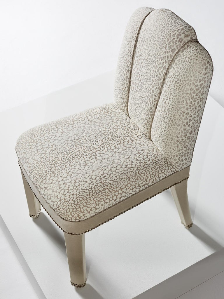 Hand-Crafted And Objects Abbas Dining Chair, Fully Upholstered in White Velvet & Chrome For Sale