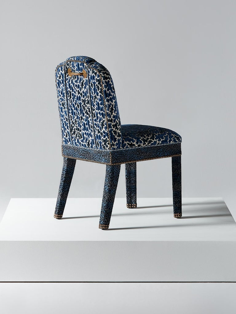 British And Objects Abbas Dining Chair, Fully Upholstered in Indigo Blue Velvet For Sale