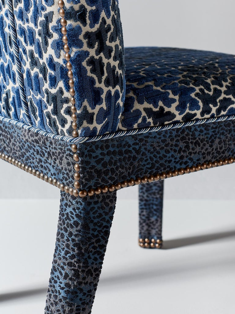Hand-Crafted And Objects Abbas Dining Chair, Fully Upholstered in Indigo Blue Velvet For Sale