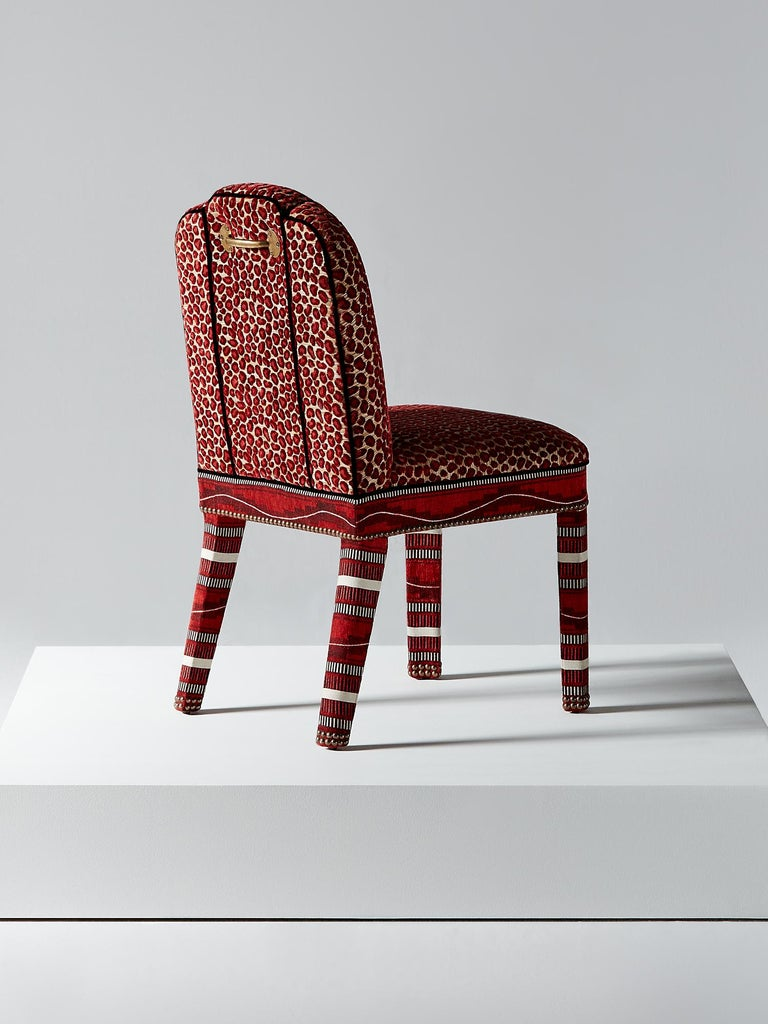 British And Objects Abbas Dining Chair, Fully Upholstered in Wilde Red Velvet For Sale