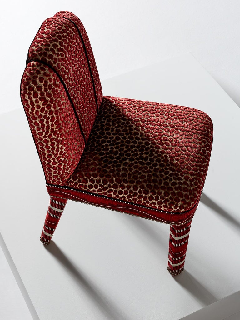 Hand-Crafted And Objects Abbas Dining Chair, Fully Upholstered in Wilde Red Velvet For Sale