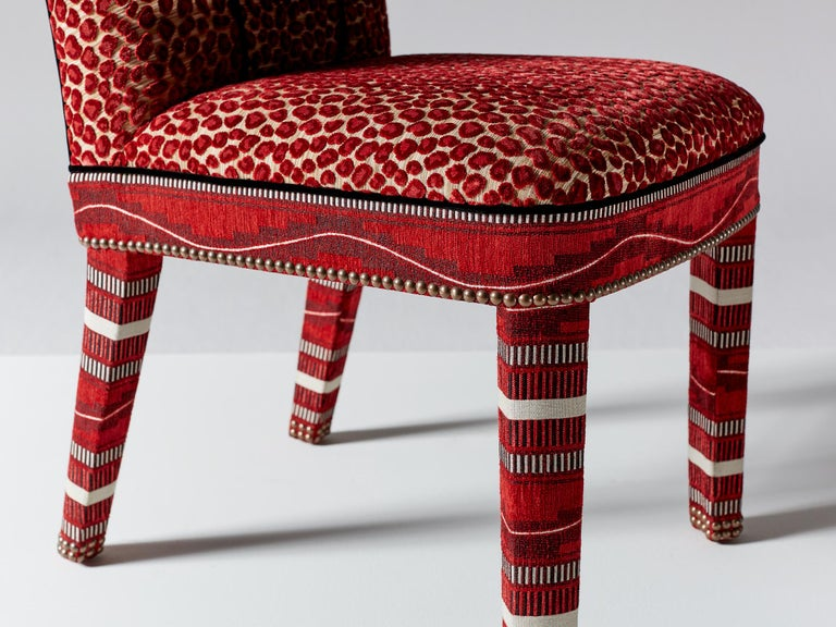 And Objects Abbas Dining Chair, Fully Upholstered in Wilde Red Velvet In New Condition For Sale In London, Greater London