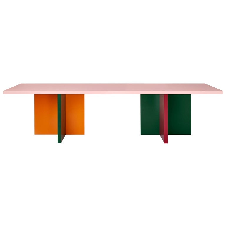 Color-Blocked Lacquered 10-Foot MDF Abbondio Dining or Conference Table  For Sale