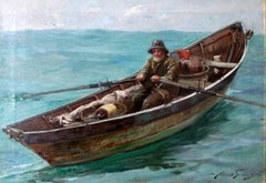 """Maine Dorie Fisherman"" Seascape and Boating Genre Scene"
