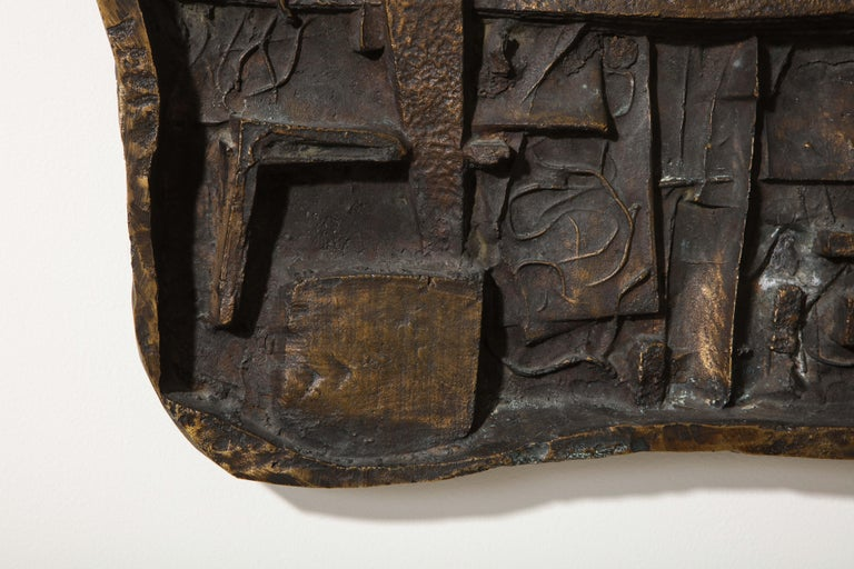 Cast Abbott Pattison Abstract Bronze Wall Sculpture For Sale